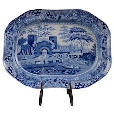 Early 19th C. Staffordshire Blue & White Transferware Serving Platter