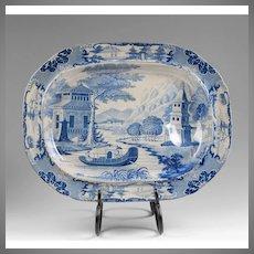 19th C. Staffordshire Blue & White Transferware Meat Platter
