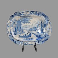 19th C. Staffordshire Blue & White Transferware Meat Platter