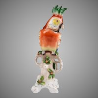 German Porcelain Hand Painted Parrot Figurine