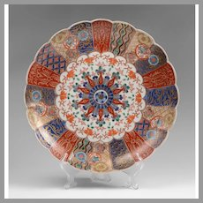 Meiji Period Japanese Imari Scalloped Charger or Dish