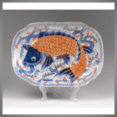 Meiji Period Japanese Bas-Relief Koi Platter