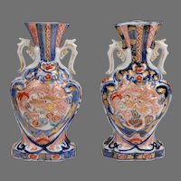 Pair of Meiji Period Japanese Imari Vases With Dragons