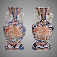 Pair of Meiji Period Japanese Imari Vases With Dragons