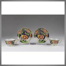 Pair of 1818 Coalport Cups & Saucers, Anstice, Horton & Rose