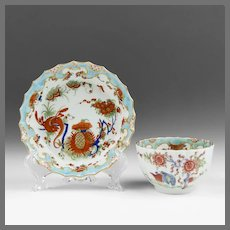 """1755 Dr. Wall Period Worcester """"Jabberwocky"""" Tea Cup & Stand"""