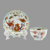 "1755 Dr. Wall Period Worcester ""Jabberwocky"" Tea Cup & Stand"