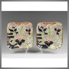 Pair of 1810 Coalport Square Dishes, Thumb and Finger Pattern