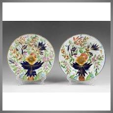 Pair of 1820 Coalport Hand Painted Soup Bowls, Imari Pattern