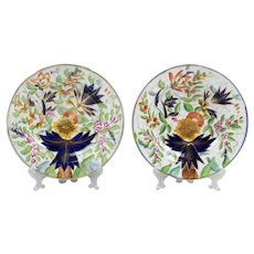 Pair of 1820 Coalport Hand Painted Soup Bowls, Imari Pattern