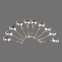 Set of 10 Vintage Gorham Fleury Sterling Bouillon Soup Spoons