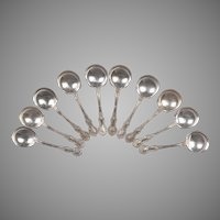 Set of 10 Vintage Gorham Fleury Sterling Bouillon Soup Spoons