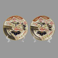 Pair of 1810 Chamberlain Worcester Thumb & Finger Pattern Imari Dishes