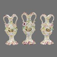 Flower Encrusted Coalport Coalbrookdale Garniture Vases, 3 Pcs.