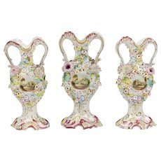 Flower Encrusted Coalport Coalbrookdale Garniture Vases, 3 Pcs.