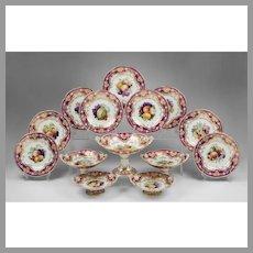 1825 Ridgway China Dessert Set, Hand Painted, 14 Pieces