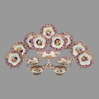 1825 Ridgway China Dessert Set, Hand Painted, 14 Pieces