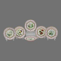 19th C. Dessert Service, Hand Painted Named Floral Vignettes, 6 Pcs.