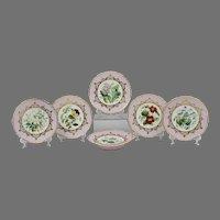 19th C. Dessert Service, Hand Painted Named Floral Vignettes, 6 Pcs.