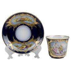Late 19th C. Hand Painted Paris Porcelain Cup & Saucer