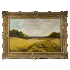 Pastoral Oil On Canvas Of Wheat Gathering By Frank Walton