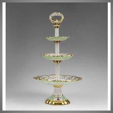 Edouard Honore Paris Porcelain Tiered Dessert Tazza, 1850