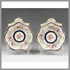 1820 Circa Shell Shaped Coalport Dishes, Floral Design