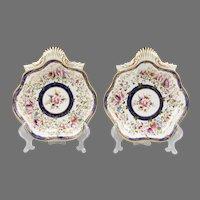 1820 Circa Shell Shaped Coalport Dishes, Floral Design