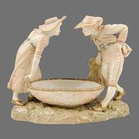 James Hadley for Kate Greenaway, Royal Worcester Figural Sweetmeat Dish