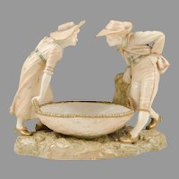 James Hadley for Kate Greenaway, Royal Worcester Figural Sweetmeat Dish