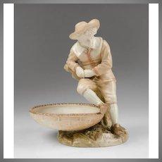 Royal Worcester James Hadley For Kate Greenaway Figural Sweetmeat Dish