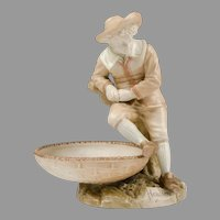 Royal Worcester James Hadley For Kate Greenaway Figural Sweetmeat Dish