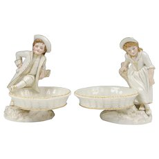 Pair of Royal Worcester James Hadley Sweetmeat Figural Dishes
