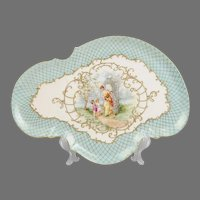 1900 Hand Painted Limoges Serpentine Porcelain Tray