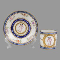 "1765 Dated Sevres Cup & Saucer With ""P"" Monogram"
