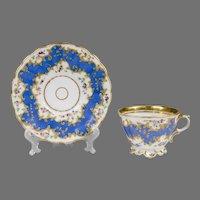 Mid 19th C. Paris Porcelain Rococo Revival Cup & Saucer
