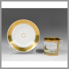 Early 19th C. Paris Porcelain Scenic Cup & Saucer, John Joseph Lassia