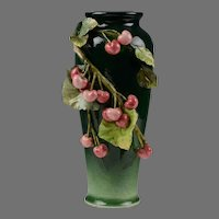 Italian Majolica Vase by Mollica, Applied Vines and Fruit