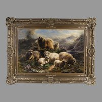 Oil on Canvas of Highland Sheep by William Watson, Junior, 1916