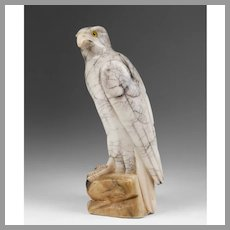 Early 20th C. Marble Hand Carved Falcon On Rock