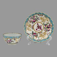 Worcester Dr. Wall Period Highly Decorative Tea Bowl & Saucer, 1770