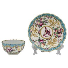 Worcester Dr. Wall Period Highly Decorative Tea Bowl & Saucer, 1770