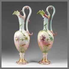 Pair of French Delphin Massier Faience Majolica Urns