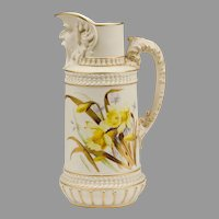 Royal Worcester Jug, With Face Spout, 1889
