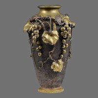 Japanese Taisho Period Bronze Vase with Applied Grapes & Vines