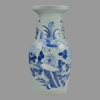 Celadon Chinese Vase With Underglaze Blue Decoration