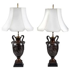 Pair of Patinated Bronze Neoclassical Style French Urns Mounted As Lamps