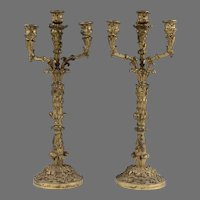 Pair of 19th C. French Spelter Candelabras