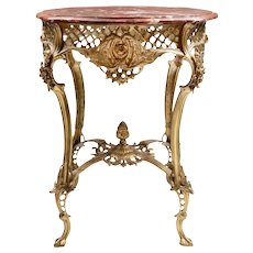Vintage Louis XV Style Pierced Brass Side Table