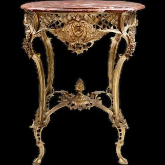 Vintage Louis XV Style Pierced Brass Side Table